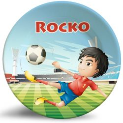 Boy Playing Soccer personalized melamine plate.