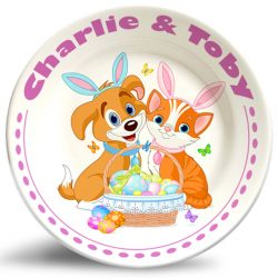 Dog and Cat Easter personalized name plate.