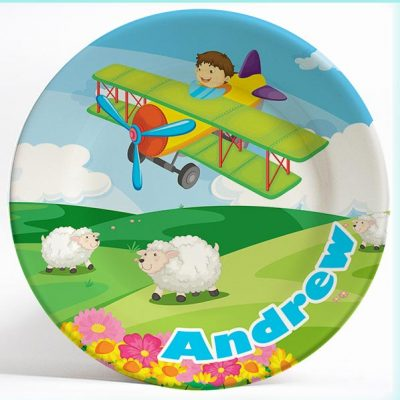 Boy Flying Plane Fantasy name plate. Personalized dinner plate for kids. PersonalizedKidsPlates.com