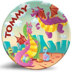 Friendly Dragons Fantasy melamine plate. Personalized dinner plate for kids.