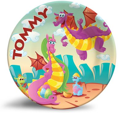 Friendly Dragons Fantasy melamine plate. Personalized dinner plate for kids.