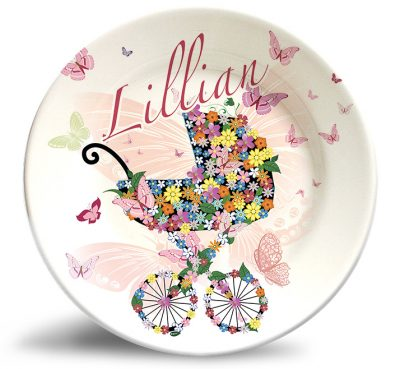 Floral stroller personalized name plate. Sophisticated artwork that won't fade.