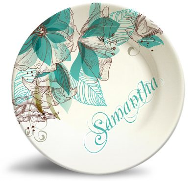 Floral stroller personalized name plate. Sophisticated teal artwork that won't fade.