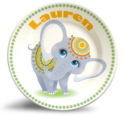 Cute girl elephant personalized name plate.
