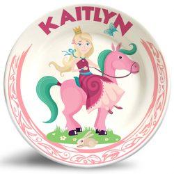 Girl Princess on Horse Fantasy melamine plate.