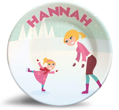 Ice Skating Girl and Mom personalized dinner plate plate.