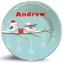 Christmas Birds vintage style personalized name plate