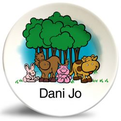 Personalized vintage,friendly barn animals dinner plate by Randesign