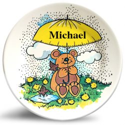 Friendly Bear personalized vintage art, melamine dinner plate for kids