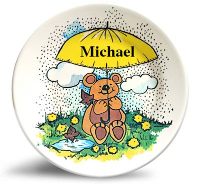 Friendly Bear personalized vintage art, melamine dinner plate for kids