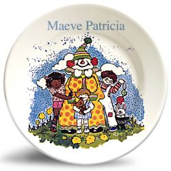 Personalized vintage, Friendly Clown dinner plate by Randesign