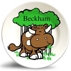 Personalized vintage, Yummy Grass cow art dinner plate by Randesign