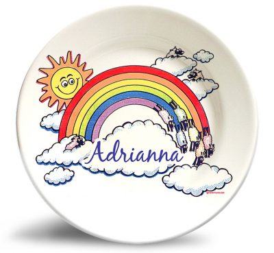 Personalized vintage, Rainbow in the clouds dinner plate by Randesign