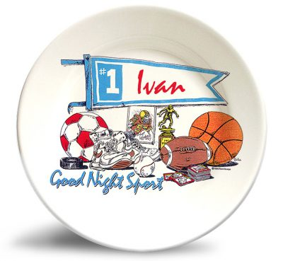 Personalized vintage,sports dinner plate by Randesign