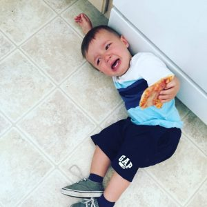 Kitchen tantrums at their finest. Lack of a consistent meal schedule is to blame for this one. Hangry toddler.