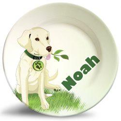 Boy's dog melamine personalized dinner plate