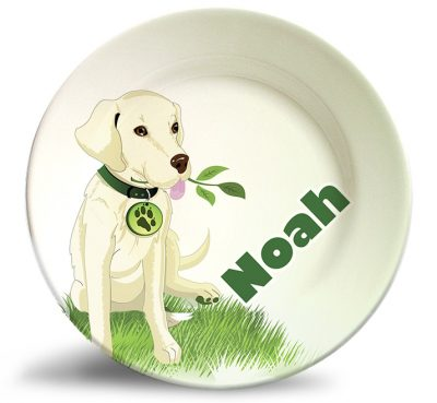 Boy's dog melamine personalized dinner plate