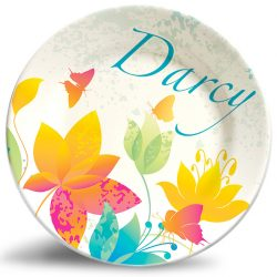 Colorful Flowers name plate. Personalized dinner plate for kids.