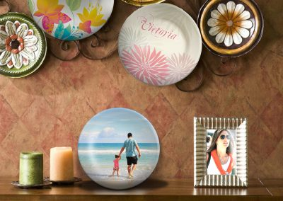 Personalized dinner plates make unique wall and shelf decor for bedrooms and living rooms