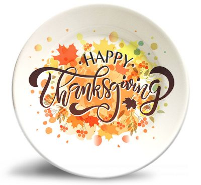 Happy Thanksgiving decorative melamine plate w/o personalization