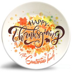 Happy Thanksgiving decorative melamine plate personalized with family name