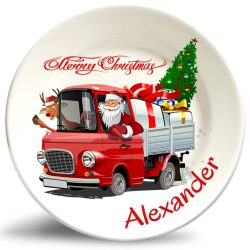 Personalized dinner plate for kids -colorful Santa in antique truck Christmas plate