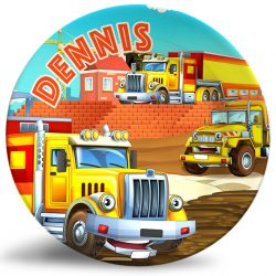 Personalized dinner plate for kids -colorful cartoon construction trucks and semi