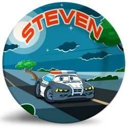 Personalized dinner plate for kids -colorful cartoon police car at night
