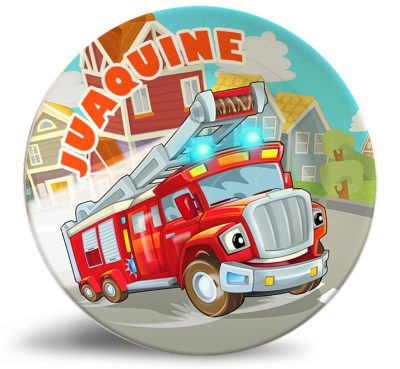 Personalized dinner plate for kids -colorful cartoon firetruck