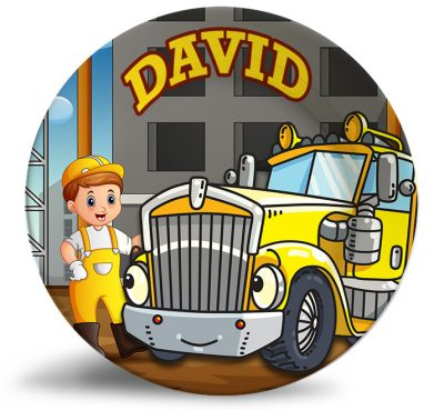 Personalized dinner plate -boy with semi truck