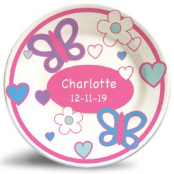 Floral Butterflies name plate. Personalized, decorative dinner plate for kids.