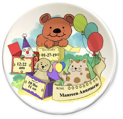 Personalized vintage, Happy Bear, Dog & Cat dinner plate for babies and kids
