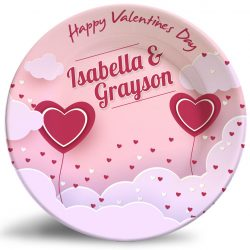 Valentine's Day personalized dinner plate. Decorative melamine plate