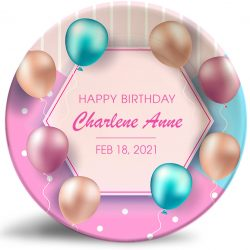 """Happy Birthday"" personalized, decorative plate. Classy, colorful balloons."