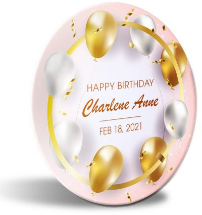 """Happy Birthday"" personalized, decorative plate. Gold and white balloons."