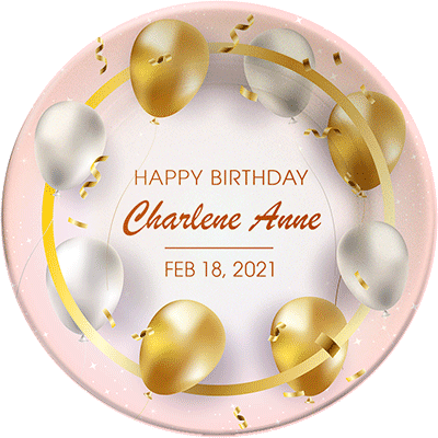 """""""Happy Birthday"""" personalized, decorative plate. Gold and white balloons."""