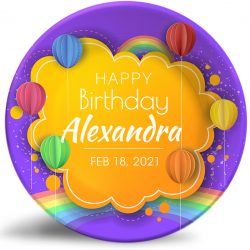 """Happy Birthday"" personalized, decorative plate. Crafty, simulated paper artwork."