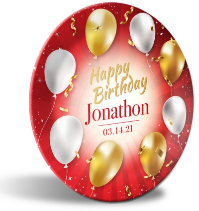 """Happy Birthday"" personalized, decorative plate. Red ribbons, gold and white balloons."