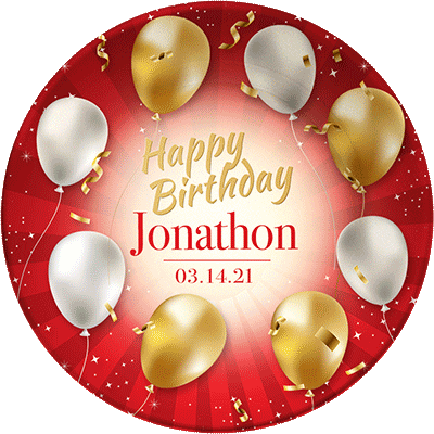 """""""Happy Birthday"""" personalized, decorative plate. Red ribbons, gold and white balloons."""
