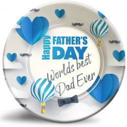 """Decorative, personalized """"Father's Day"""" dinner plates for Dad's special day."""